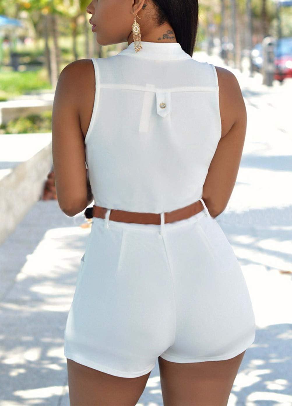 Haizhe Combishort Femme Casual Romper Jumpsuit Bodysuit Et/é Plage Combinaison Short sans ManchesTaille Elastique