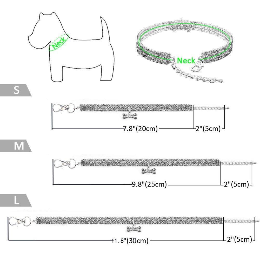 Perros Collares para Mascotas oobest Collares para Mascotas con 3 Filas de Diamantes de imitaci/ón el/ásticos Gatos Collares de Cristal con Colgante de Hueso