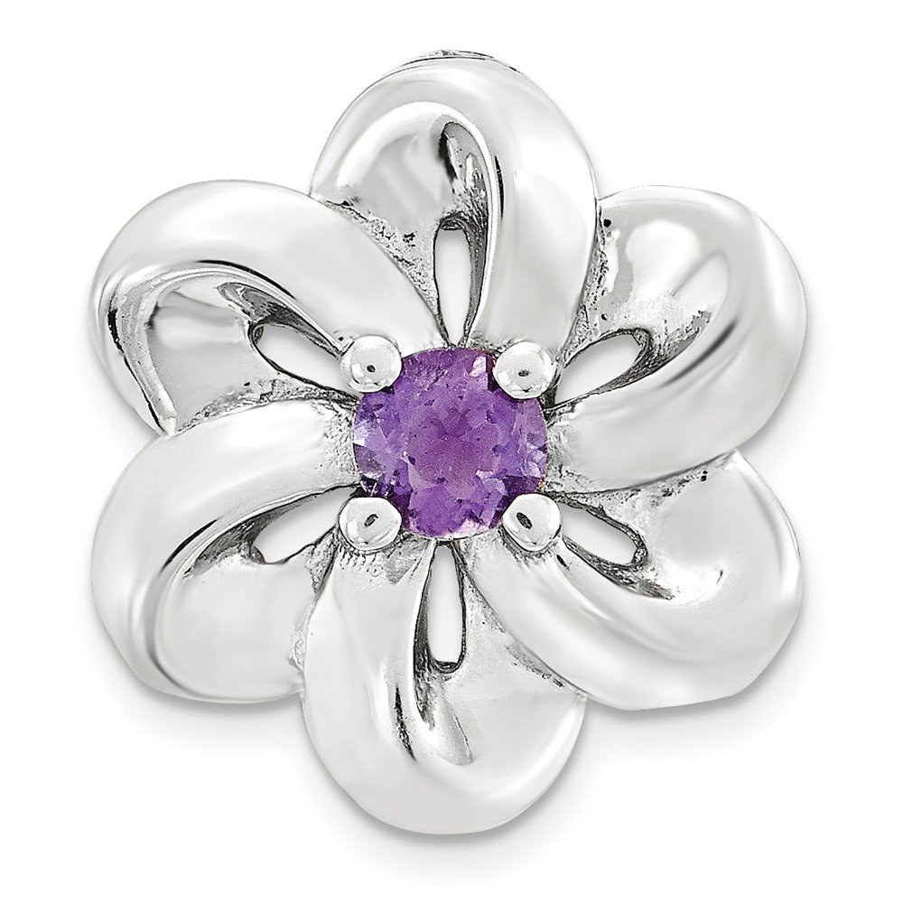 Sterling Silver Jewelry Pendants /& Charms Solid Stackable Expressions Small Amethyst Flower Chain Slide