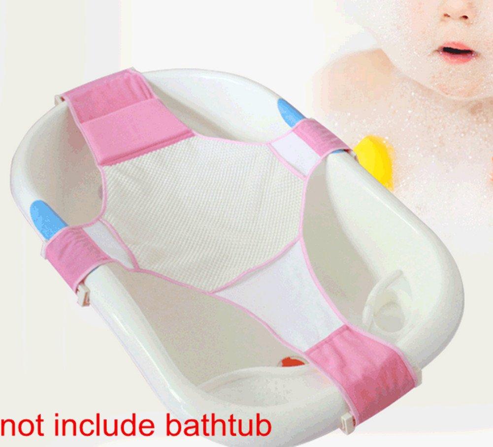 Skyseen Adjustable Baby Bathtub Seat Support Sling Net Newborn Infant Bath Tub Hammock (Pink)