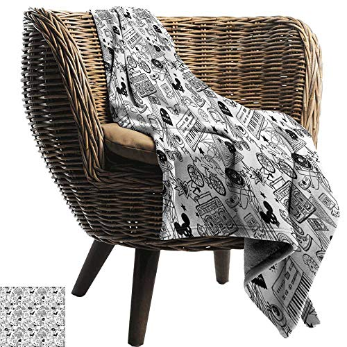 Sillgt Comfort Blanket Black and White Punk Teenage Pattern Cassette Keyboard Ghost Heart and Boombox Doodle Sofa Warm Bed 84