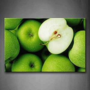 Crystal Emotion Green Apple Wall Art Painting The Picture Print On Canvas Food Wall Art Stretched and Framed Artwork 8x12inch