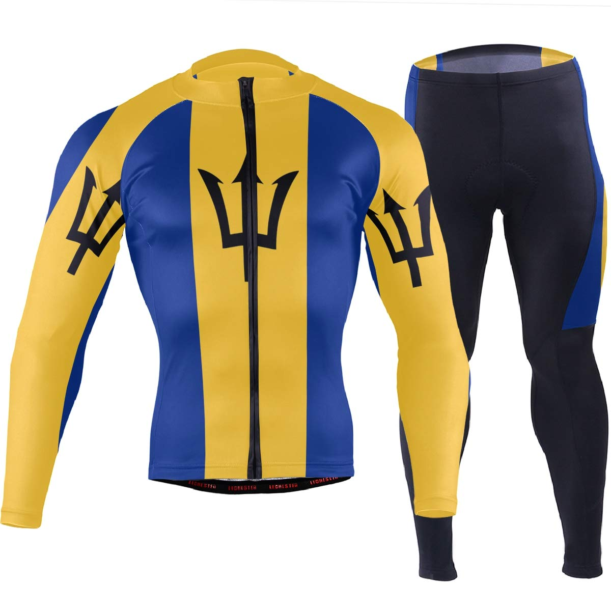 CHINEIN Men's Cycling Jersey Long Sleeve with 3 Rear Pockets Suit Barbados Flag by CHINEIN