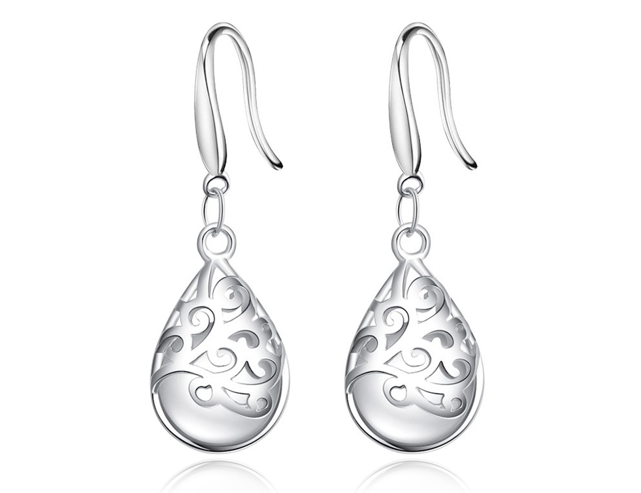 ''Wishing Tree''925 Sterling Silver Teardrop Filigree Dangle Earrings for Women … (Vogue hook)