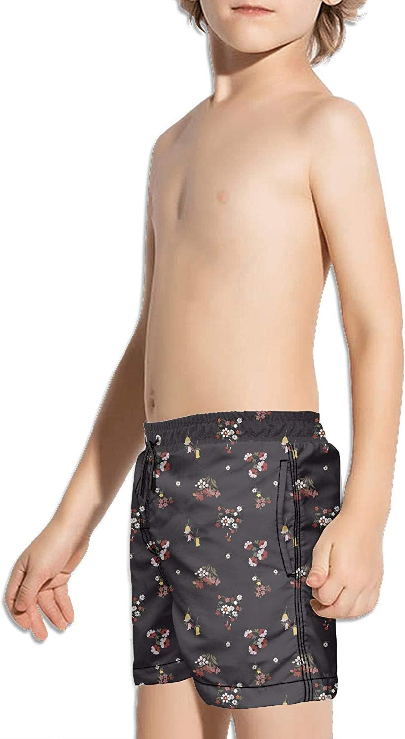 White Small Daisy Red Flower On Black Childrens Beach Pants Board Shorts Running high Waisted Floral Shorts