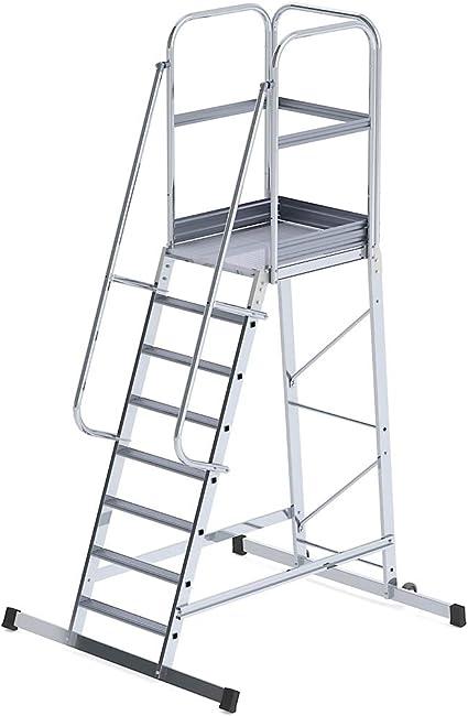 eurokraft plataforma móvil en aluminio – mobile, acceso de un solo lado 8 peldaños – escalera – escalera de