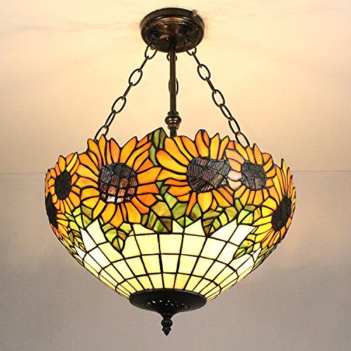 LILAS European Vintage Pastoral Style Tiffany 16-Inch Sunflower Handmade Stained Glass Pendant Lamp Dining Room Light