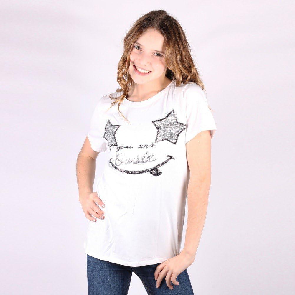 Lori/&Jane Big Girls White Sequin Smiley Short Sleeve T-Shirt 16