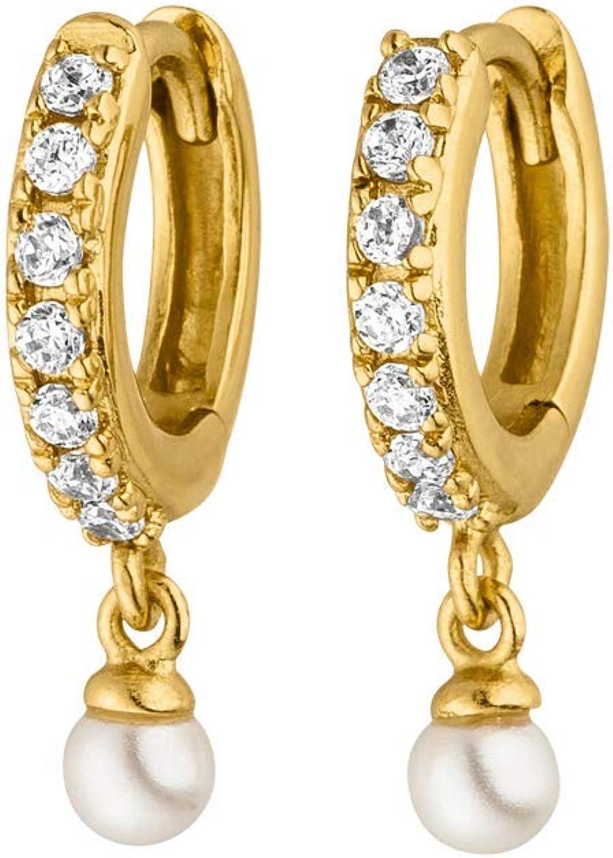 PAUL VALENTINE® Pendientes Ariel para mujer - en plata o en oro de 18K - con perla y zirconia de alta calidad - Joyas para mujer - Regalo para mujer