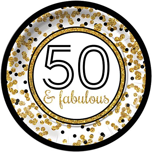 (Cheers to You Gold 50 & Fabulous 50th Birthday Dinner Plates (8) Party Tableware Supplies)