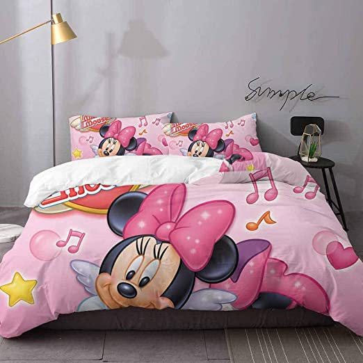 Amazon Com Printed Modern Comforter Cover 3 Pieces Mickey Minnie Mouse 3d Digital Print Bedding Sets Bedding 3 Piece Duvet Cover Set Queen Home Kitchen