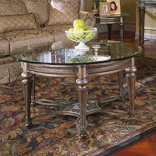 - Magnussen Galloway 2 Piece Round Glass Top Cocktail and End Table Set