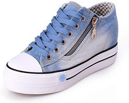Zapatos de Lona de Las Mujeres Plataforma de la Moda Ocio Zapatos Deportivos con Cremallera Mujer Caminar al Aire Libre Zapatos Casuales Pantalones Vaqueros Azules: Amazon.es: Zapatos y complementos