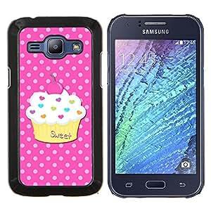 Dulce Pastelería Lunares Rosa- Metal de aluminio y de plástico duro Caja del teléfono - Negro - Samsung Galaxy J1 / J100