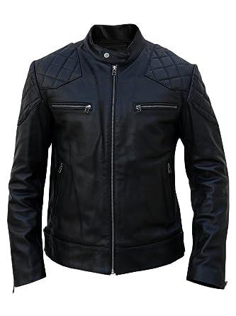 4337949c10c Men Leather Jacket Black Slim Fit Biker Motorcycle Lamskin Jacket (11) (XS)