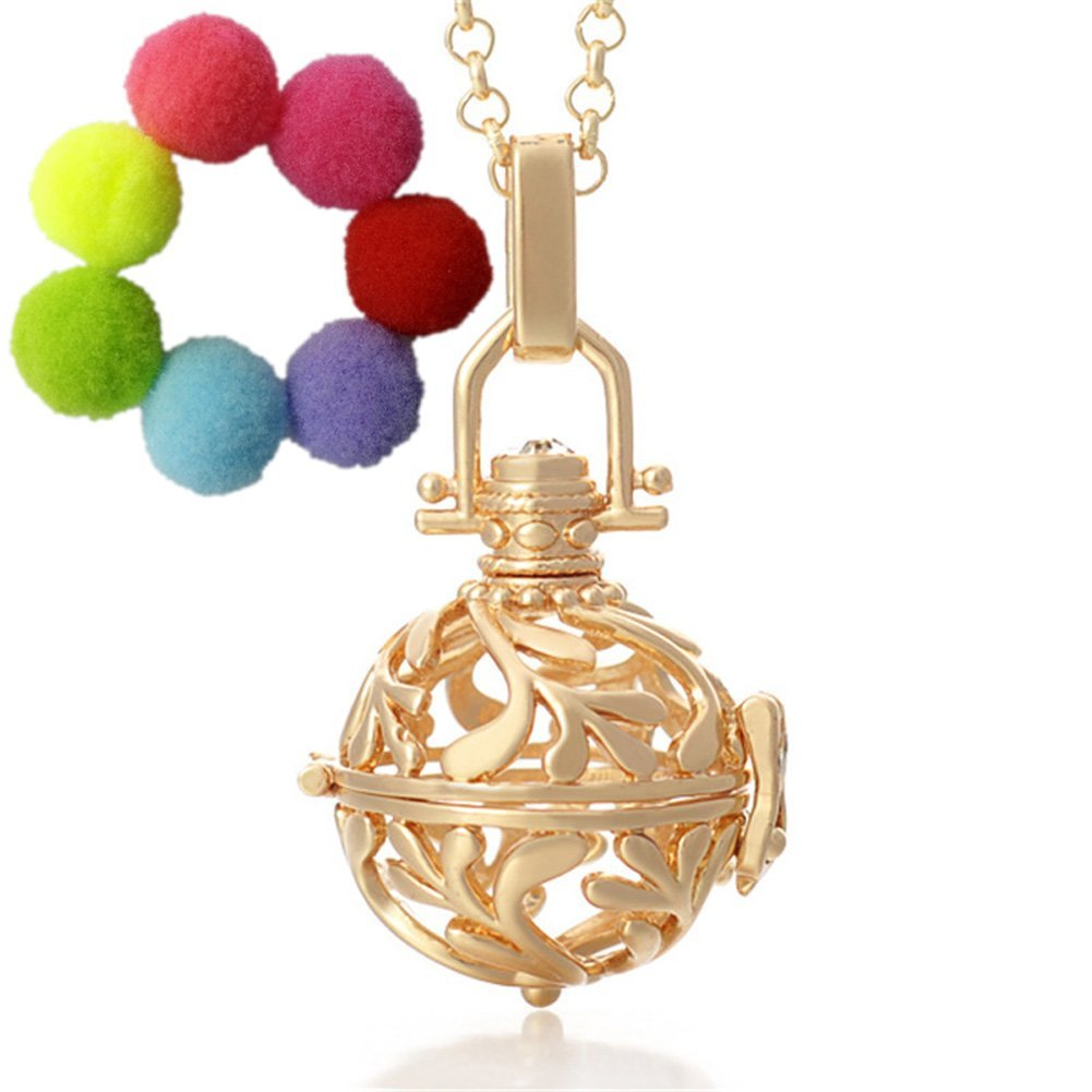 Sharefashion Retro carved hollow Locket Necklace for Aromatherapy Essential Oil Fragrance Diffuser QYZ1601220010