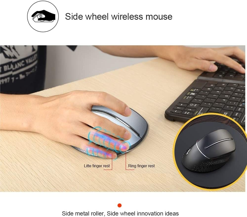 CHNAN T32 Ergonomic Design 2.4G Wireless Vertical Mouse Mice Color : Silver