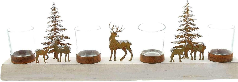 SIDCO Kerzenhalter Advent Kerzenboard Holz Kerzenst/änder 4 Glas Adventsgesteck Kerzen