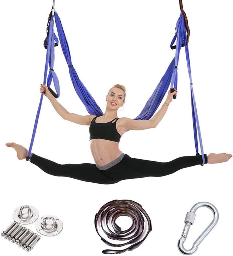 Amazon Com Aerial Yoga Swing Set Yoga Hammock Trapeze Yoga Kit With 2 Extension Straps Wide Flying Yoga Inversion Tool Antigravity Ceiling Hanging Yoga Sling For Adult Kids Sports Outdoors