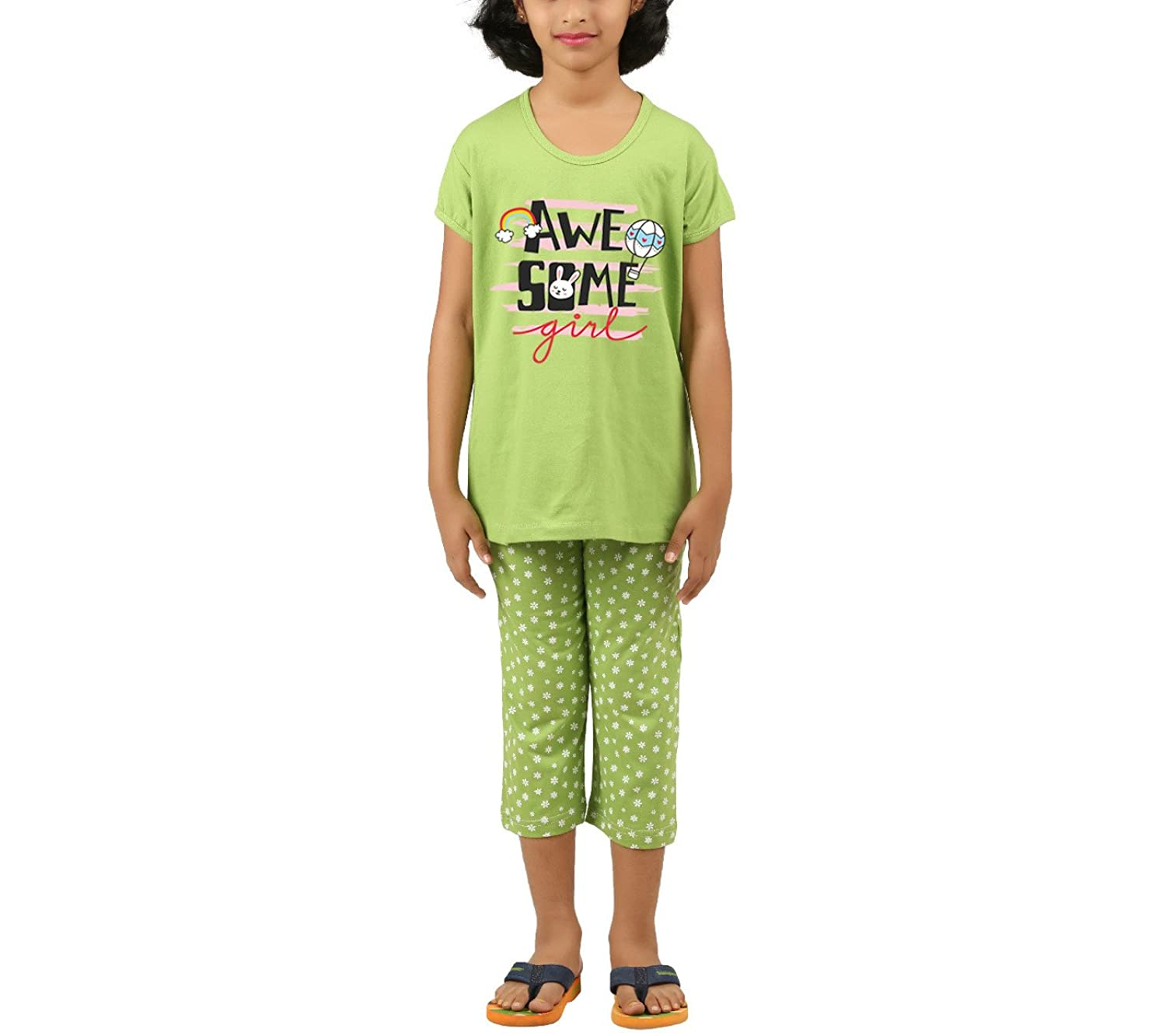 37c7f1c9fa26a0 Clifton Girls POISION Green Flower Printed Capri Set -Awesome-POISION Green