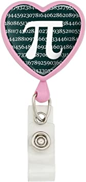 Pi Math Geek Nerd 3.14 Heart Lanyard Retractable Reel Badge ID Card Holder