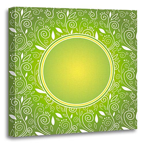 Gold Framed Record Dream (Emvency Painting Canvas Print Artwork Decorative Print Colorful Birth Citrus Green Blank Bright Child Childish Circle Cute Date Wooden Frame 16x16 inches Wall Art for Home Decor)