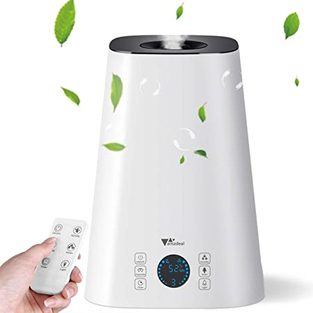 amzdeal Humidifier Cool Mist Humidifier 5L Ultrasonic Humidifier for Bedroom Baby with Remote Control and LED Display, Quiet for Sleeping, Up to 10