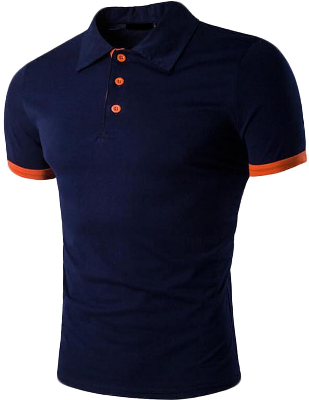 Acquaa Men's Fashion Casual Cotton Lapel Polo Shirt