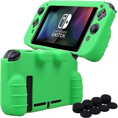 Pandaren® silicona Empuñadura Protector funda protectora para Nintendo Switch consola(verde) + Joycon empuñaduras de pulgar thumb grips x 8: Amazon.es: Videojuegos