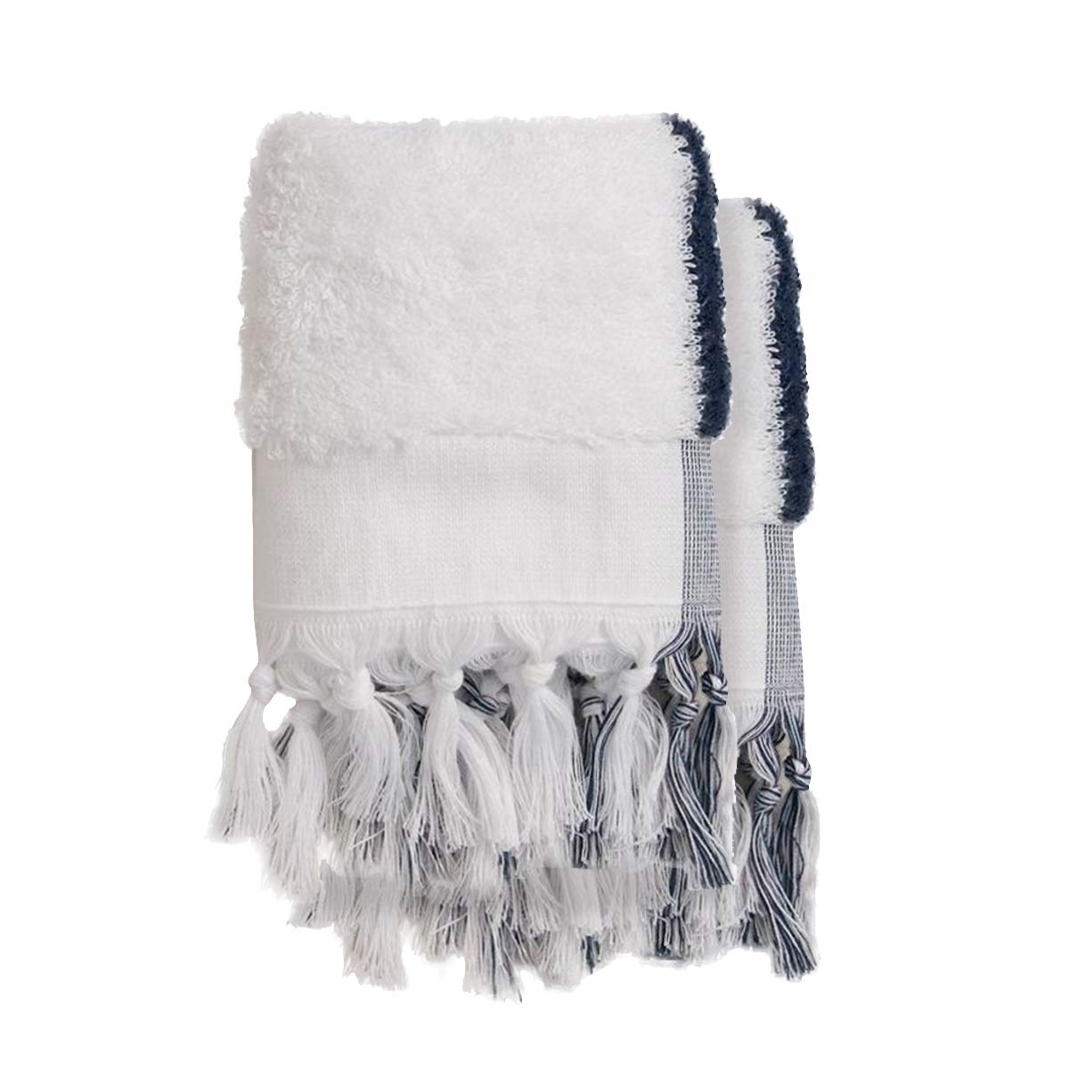 Chakra Matt Bamboo Organic Oversize Hand Towel, Set of 2, 19''x35'' Stripe Pattern Turkish Extra Large Hand Towels- Multipurpose Use for Bath, Hand, Face, Gym, Yatch and Spa - Oeko-TEX