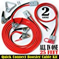 3 pcs- 2 Gauge 25 ft Quick Disconnect Jumper-Booster Cable Set,Tow-Service