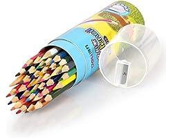 Deli 36 Pack Colored Pencils with Built-in Sharpener in Tube Cap, Vibrant Color Presharpened Pencils for School Kids Teachers