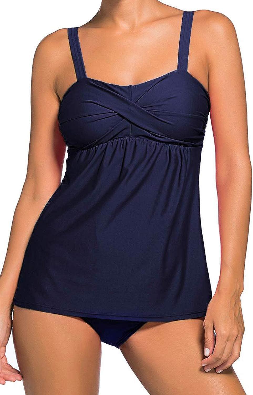 WoldGirls Womens Plus Size 2pcs Bandeau Tankini Bathing Swimsuit