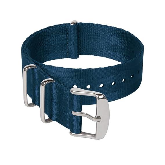 cbd6e8d0db Archer Watch Straps   Correas NATO de Nylon Cinturón de Seguridad   Correa  de Reloj Diseño Militar   Azul Marino/Piezas Metálicas Color Acero, 18mm:  ...