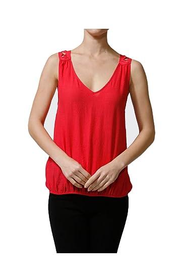 2LUV Women s Sleeveless V-Neck Blouse W  Crochet Back Red S at ...