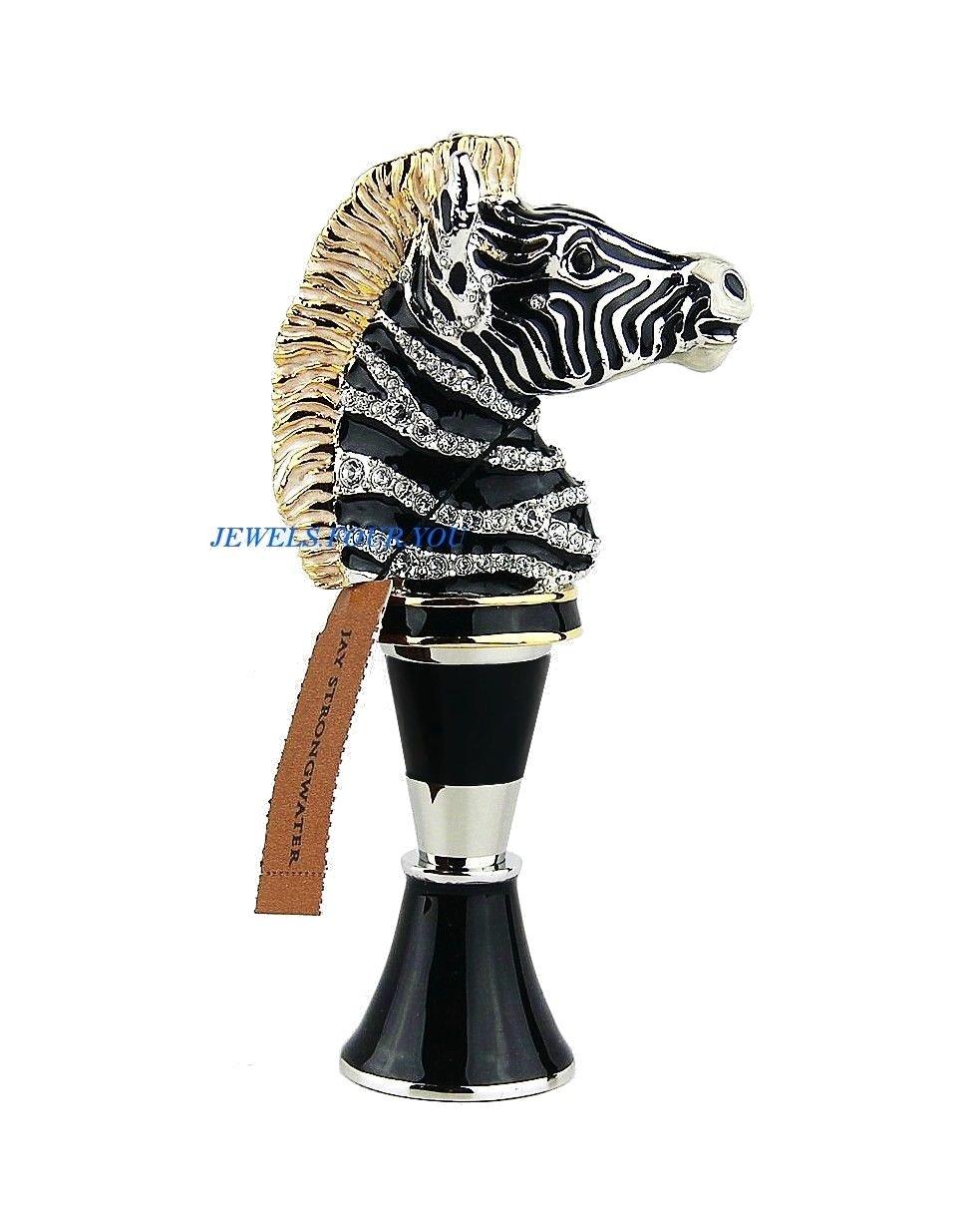 JAY STRONGWATER ZEBRA WINE STOPPER & STAND GRAYSON