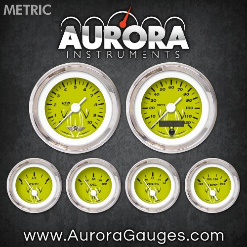 UPC 802269095366, Aurora Instruments 6364 Pinstripe Green Metric 6-Gauge Set with Emblem (White Vintage Needles, Chrome Trim Rings, Style Kit Installed)