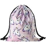 Bluelans® - Mochila de cuerdas con diseño de unicornio, para el gimnasio o la escuela, tela de poliéster