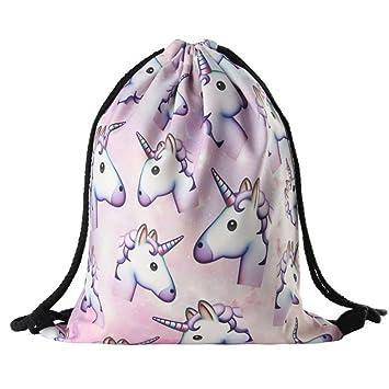 Unicorn Pattern Drawstring Gym Bag Cute Backpack Gift For Girls Women Polyester School Travel Shoulder Rucksack