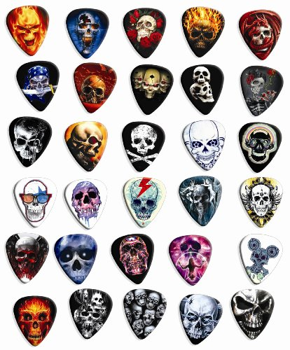 30 Skull Loose Premium Guitar Picks Medium Gauge 0.71mm