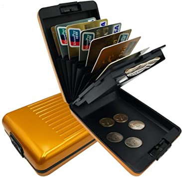 Gold RFID Scan Security Wallet Credit Card Case Protected Aluminium Hard Holder
