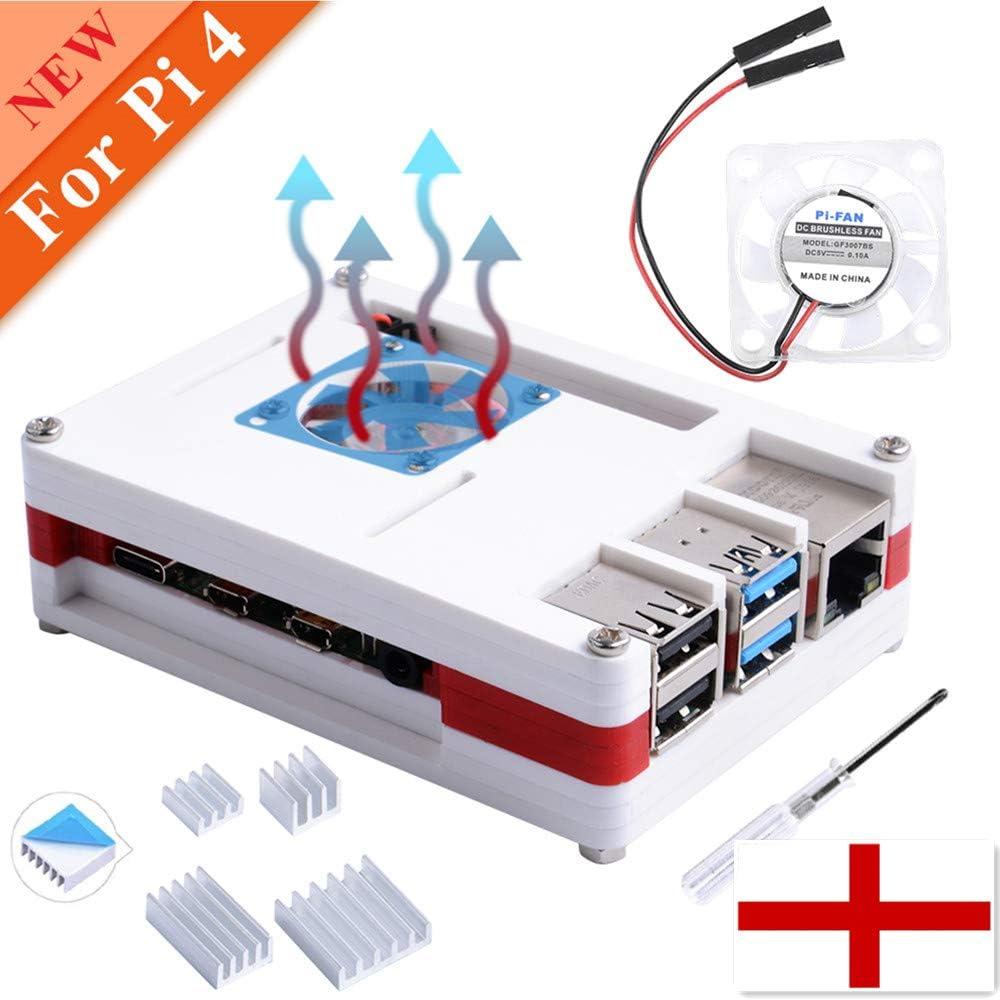 owootecc Caja para RPi 4B, Raspberry Pi 4 Caja con Ventilador ...