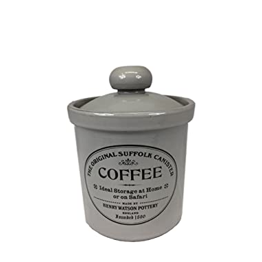 Henry Watson Original Suffolk Medium Coffee Canister Jar with Ceramic Lid in Dove Grey