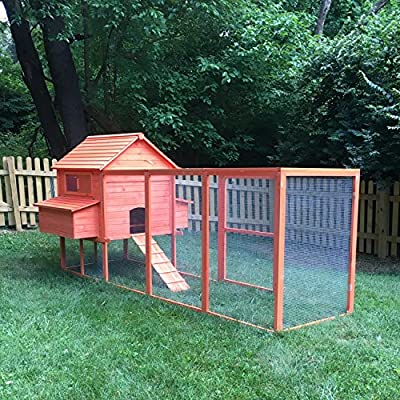 "PawHut 143"" Extra Large Wooden Chicken Coop Hen House Poultry Pet Backyard Cage w/ Nest Box and Long Run"