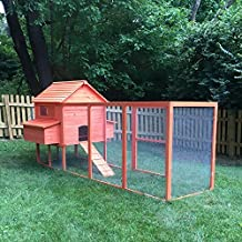 """PawHut 143"""" Extra Large Wooden Chicken Coop Hen House Poultry Pet Backyard Cage w/ Nest Box and Long Run"""