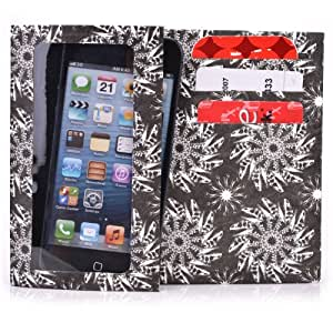 Tyvek Wallet for Smartphones - Micromax Q7 Paper Wallet (Black & White Swirl)