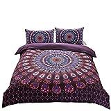 Black and Purple Duvet Cover A Nice Night Indian Mandala Elephant Boho Bedding Bohemian Bedding Duvet Cover Set (Queen, Purple)