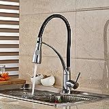 Rozinsanitary Luxury Kitchen Faucet Black Hose Vessel Sink Mixer Tap Single Handle Deck Mounted