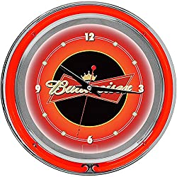 Budweiser Chrome Double Ring Neon Clock, 14