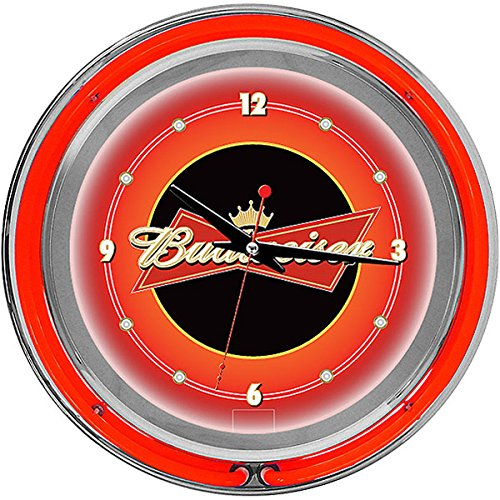 Budweiser Chrome Double Ring Neon Clock, - Light Neon Bud Clock
